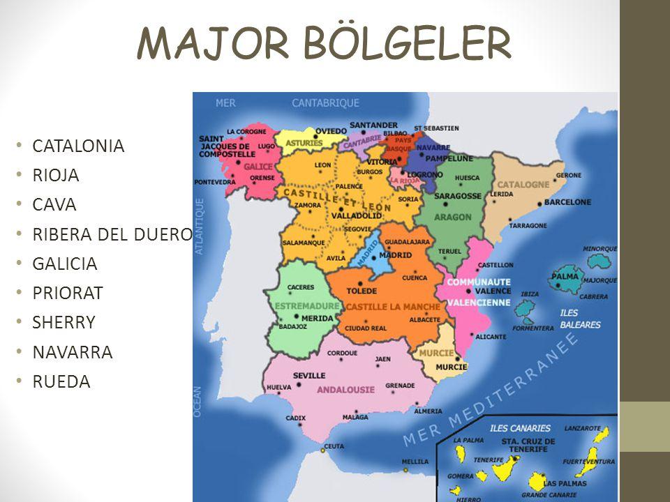 MAJOR BÖLGELER CATALONIA RIOJA CAVA RIBERA DEL DUERO GALICIA PRIORAT SHERRY NAVARRA RUEDA