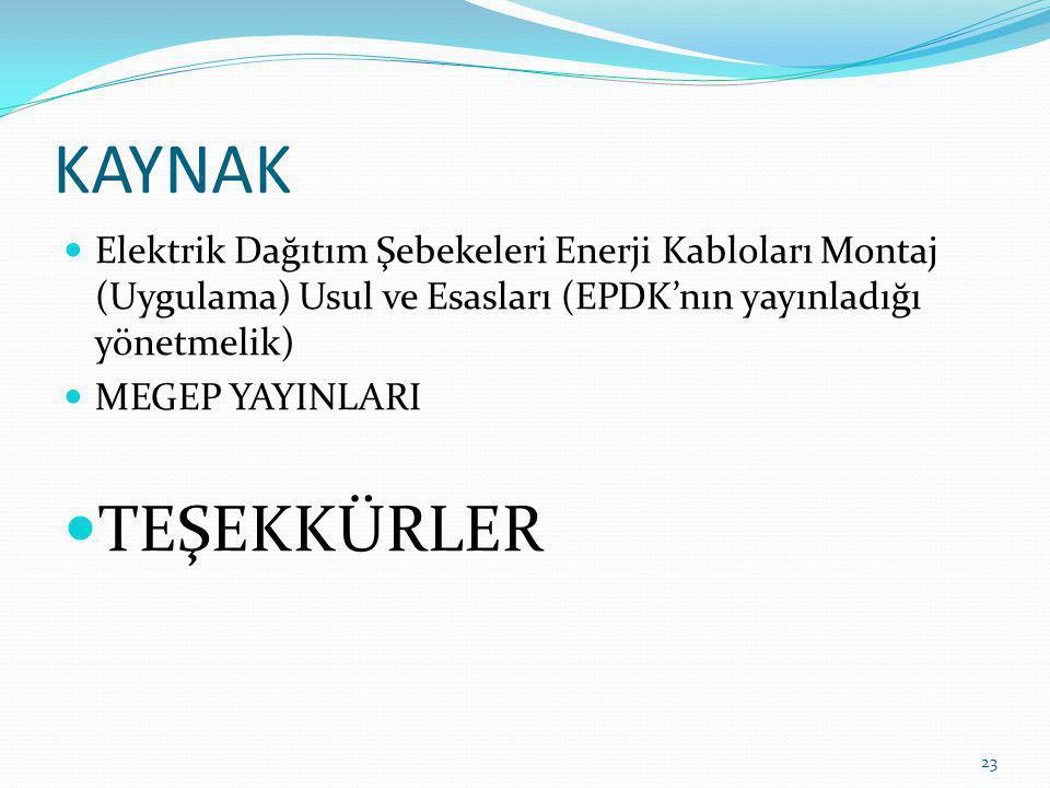 KAYNAK Elektrik Dağıtım Şebekeleri Enerji Kabloları Montaj (Uygulama) Usul ve Esasları (EPDK'nın yayınladığı yönetmelik) MEGEP YAYINLARI TEŞEKKÜRLER 2