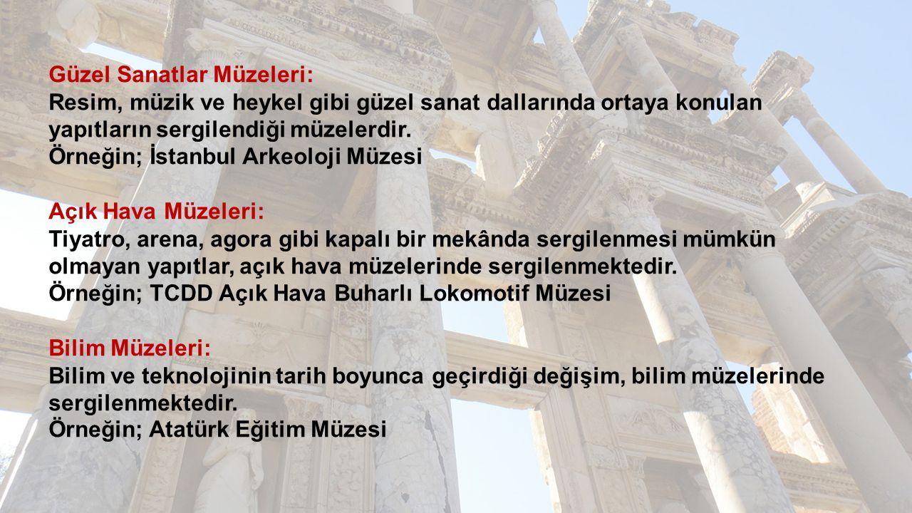 Güzel Sanatlar Müzeleri: Resim, müzik ve heykel gibi güzel sanat dallarında ortaya konulan yapıtların sergilendiği müzelerdir. Örneğin; İstanbul Arkeo