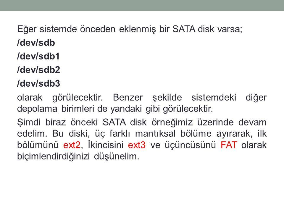 Eğer sistemde önceden eklenmiş bir SATA disk varsa; /dev/sdb /dev/sdb1 /dev/sdb2 /dev/sdb3 olarak görülecektir. Benzer şekilde sistemdeki diğer depol