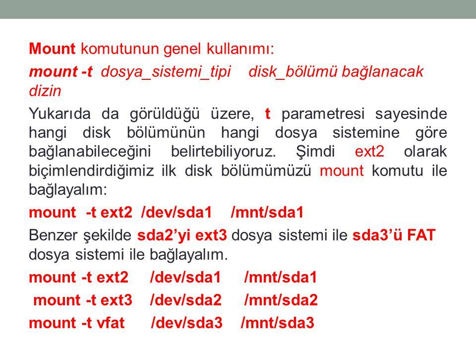 Mount komutunun genel kullanımı: mount -t dosya_sistemi_tipi disk_bölümü bağlanacak dizin Yukarıda da görüldüğü üzere, t parametresi sayesinde hangi d