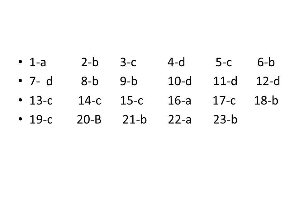 1-a 2-b 3-c4-d 5-c6-b 7- d 8-b 9-b10-d 11-d 12-d 13-c14-c 15-c16-a 17-c 18-b 19-c 20-B 21-b 22-a 23-b