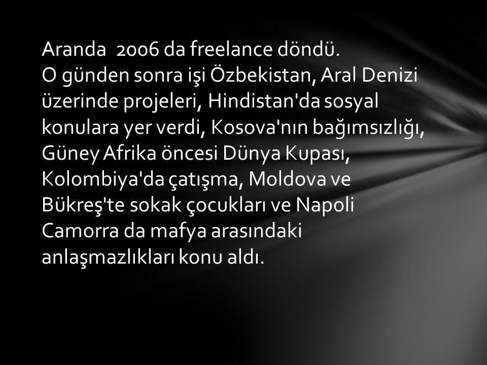 Aranda 2006 da freelance döndü. O günden sonra işi Özbekistan, Aral Denizi üzerinde projeleri, Hindistan'da sosyal konulara yer verdi, Kosova'nın bağı