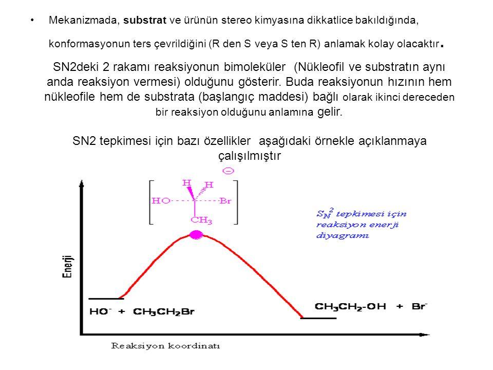Mekanizmada, substrat ve ürünün stereo kimyasına dikkatlice bakıldığında, konformasyonun ters çevrildiğini (R den S veya S ten R) anlamak kolay olacak