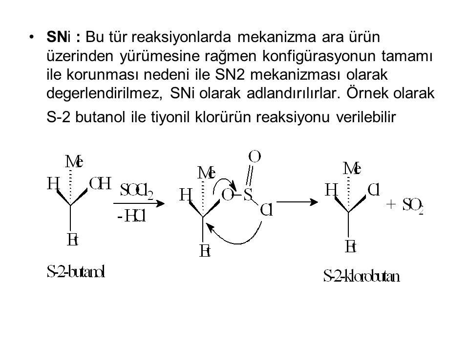 SNi : Bu tür reaksiyonlarda mekanizma ara ürün üzerinden yürümesine rağmen konfigürasyonun tamamı ile korunması nedeni ile SN2 mekanizması olarak dege