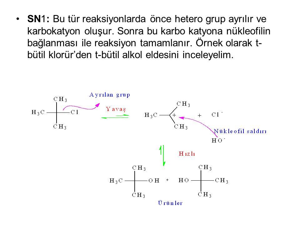 SN1: Bu tür reaksiyonlarda önce hetero grup ayrılır ve karbokatyon oluşur. Sonra bu karbo katyona nükleofilin bağlanması ile reaksiyon tamamlanır. Örn