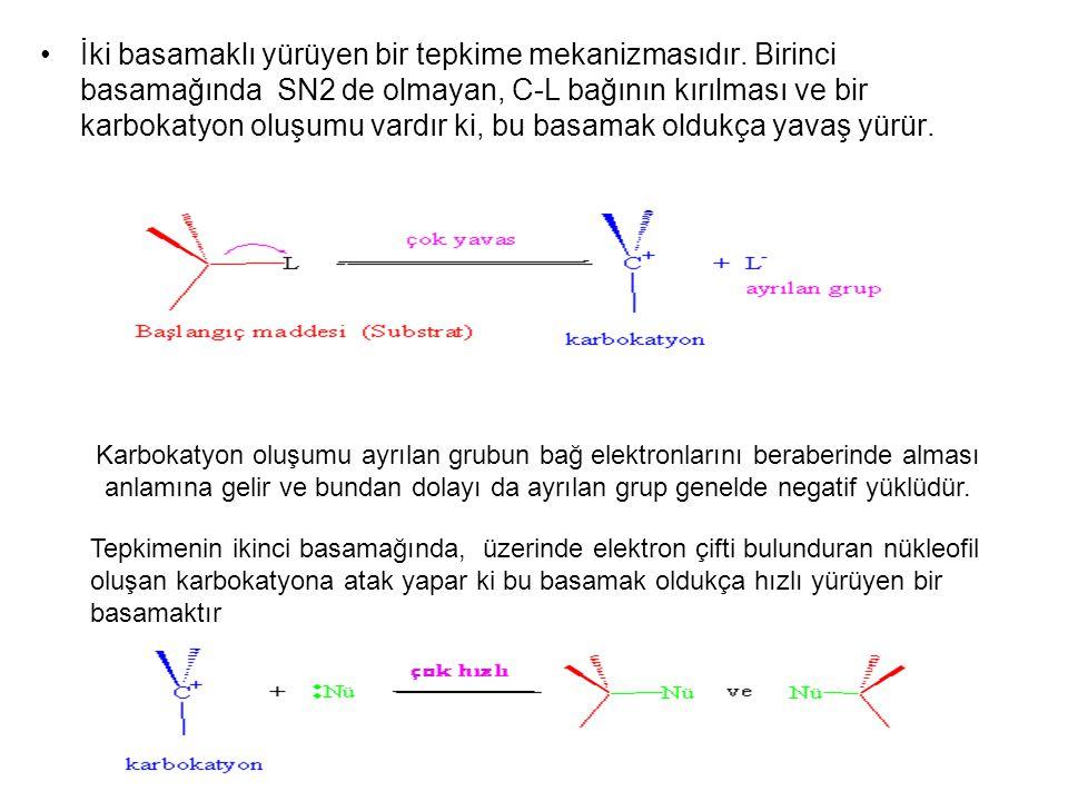 İki basamaklı yürüyen bir tepkime mekanizmasıdır. Birinci basamağında SN2 de olmayan, C-L bağının kırılması ve bir karbokatyon oluşumu vardır ki, bu b