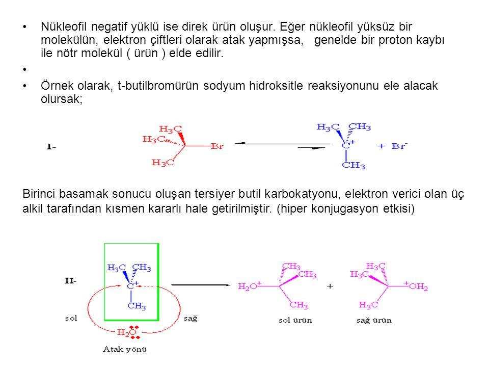 Nükleofil negatif yüklü ise direk ürün oluşur. Eğer nükleofil yüksüz bir molekülün, elektron çiftleri olarak atak yapmışsa, genelde bir proton kaybı i