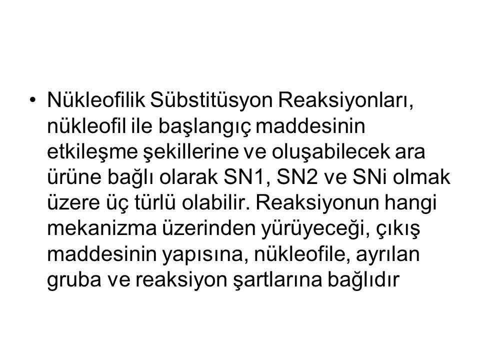 Nükleofilik Sübstitüsyon Reaksiyonları, nükleofil ile başlangıç maddesinin etkileşme şekillerine ve oluşabilecek ara ürüne bağlı olarak SN1, SN2 ve SN