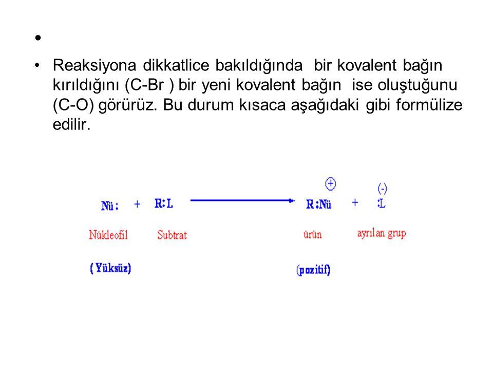 Reaksiyona dikkatlice bakıldığında bir kovalent bağın kırıldığını (C-Br ) bir yeni kovalent bağın ise oluştuğunu (C-O) görürüz. Bu durum kısaca aşağıd