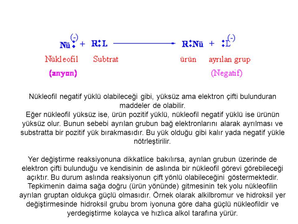 Nükleofil negatif yüklü ise direk ürün oluşur.
