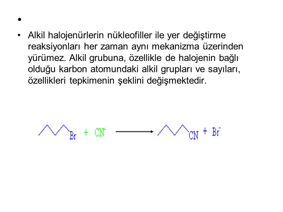 Alkil halojenürlerin nükleofiller ile yer değiştirme reaksiyonları her zaman aynı mekanizma üzerinden yürümez. Alkil grubuna, özellikle de halojenin b