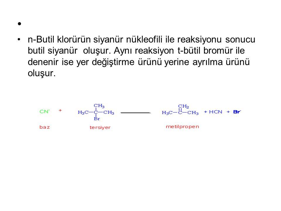 n-Butil klorürün siyanür nükleofili ile reaksiyonu sonucu butil siyanür oluşur. Aynı reaksiyon t-bütil bromür ile denenir ise yer değiştirme ürünü yer