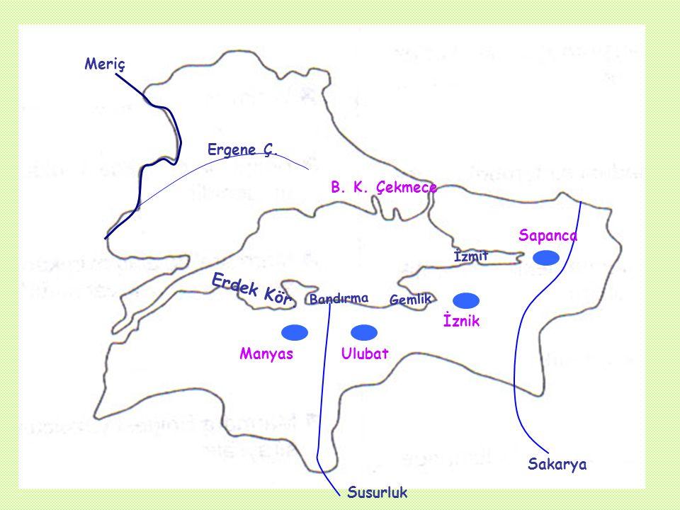 B) Akarsu ve Gölleri Sakarya'nın aşağı kesimi, Meriç nehri, Susurluk ırmağı,başlıca akarsuları oluştururlar.. Gölleri:İznik, Manyas, Sapanca, Ulubat T