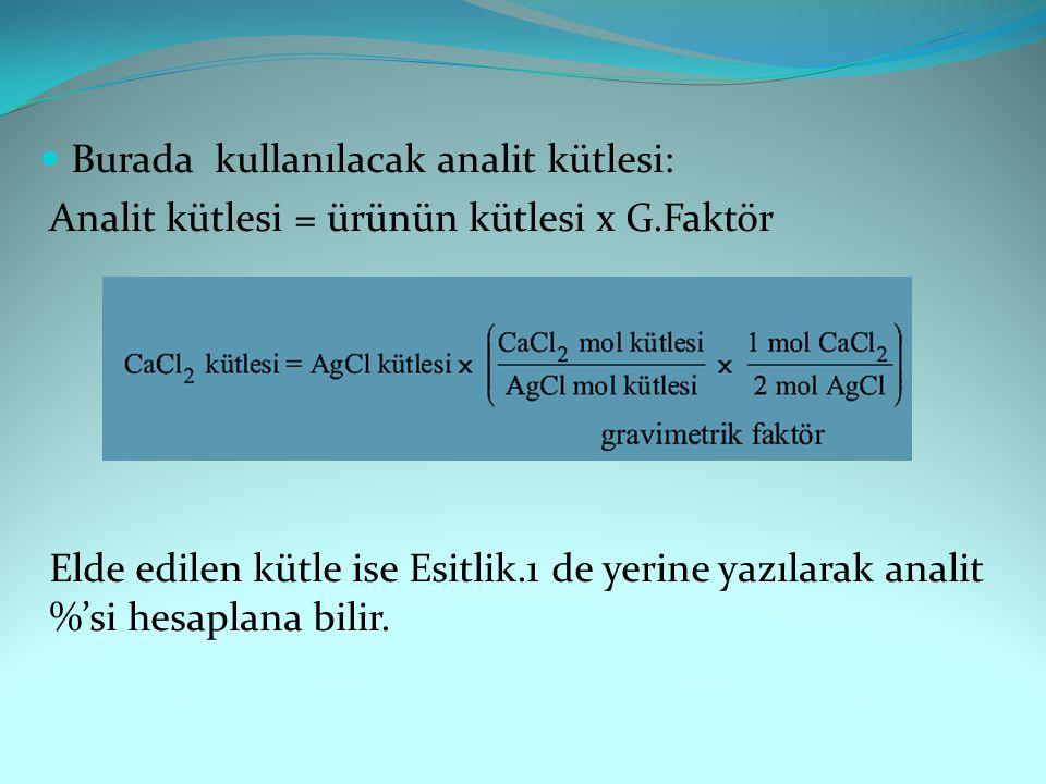 Burada kullanılacak analit kütlesi: Analit kütlesi = ürünün kütlesi x G.Faktör Elde edilen kütle ise Esitlik.1 de yerine yazılarak analit %'si hesapla