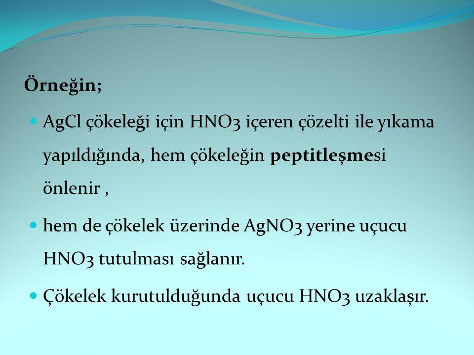 Örneğin; AgCl çökeleği için HNO3 içeren çözelti ile yıkama yapıldığında, hem çökeleğin peptitleşmesi önlenir, hem de çökelek üzerinde AgNO3 yerine uçucu HNO3 tutulması sağlanır.