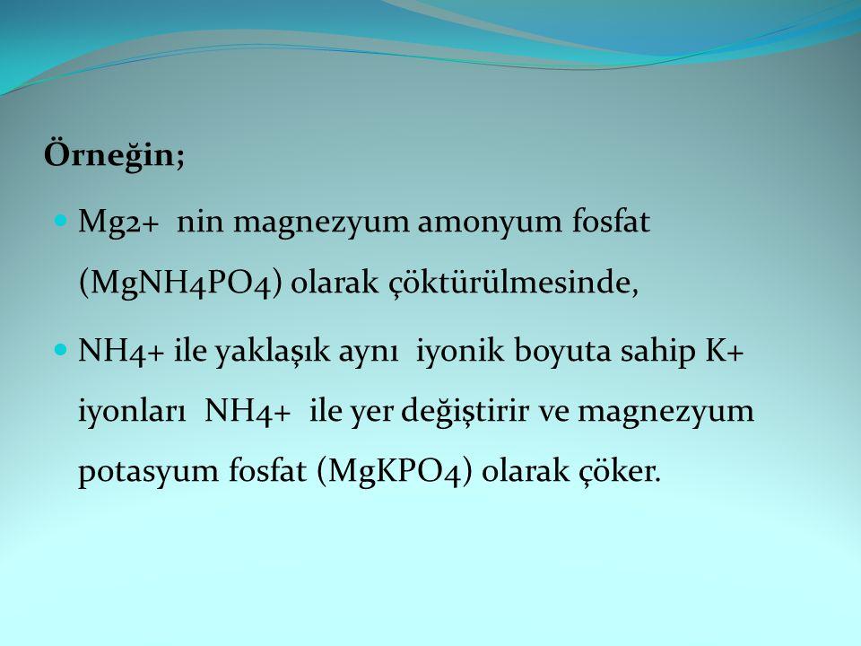 Örneğin; Mg2+ nin magnezyum amonyum fosfat (MgNH4PO4) olarak çöktürülmesinde, NH4+ ile yaklaşık aynı iyonik boyuta sahip K+ iyonları NH4+ ile yer değiştirir ve magnezyum potasyum fosfat (MgKPO4) olarak çöker.
