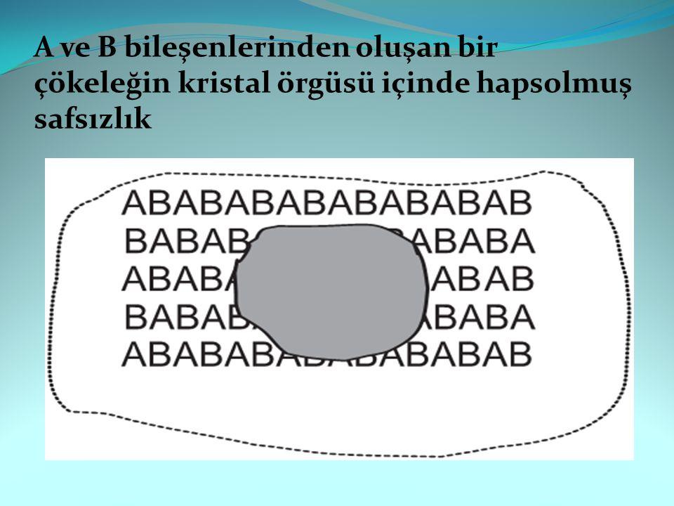A ve B bileşenlerinden oluşan bir çökeleğin kristal örgüsü içinde hapsolmuş safsızlık