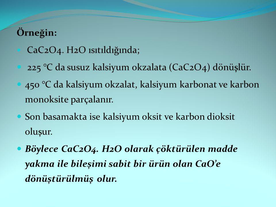 Örneğin: CaC2O4. H2O ısıtıldığında; 225 °C da susuz kalsiyum okzalata (CaC2O4) dönüşlür. 450 °C da kalsiyum okzalat, kalsiyum karbonat ve karbon monok