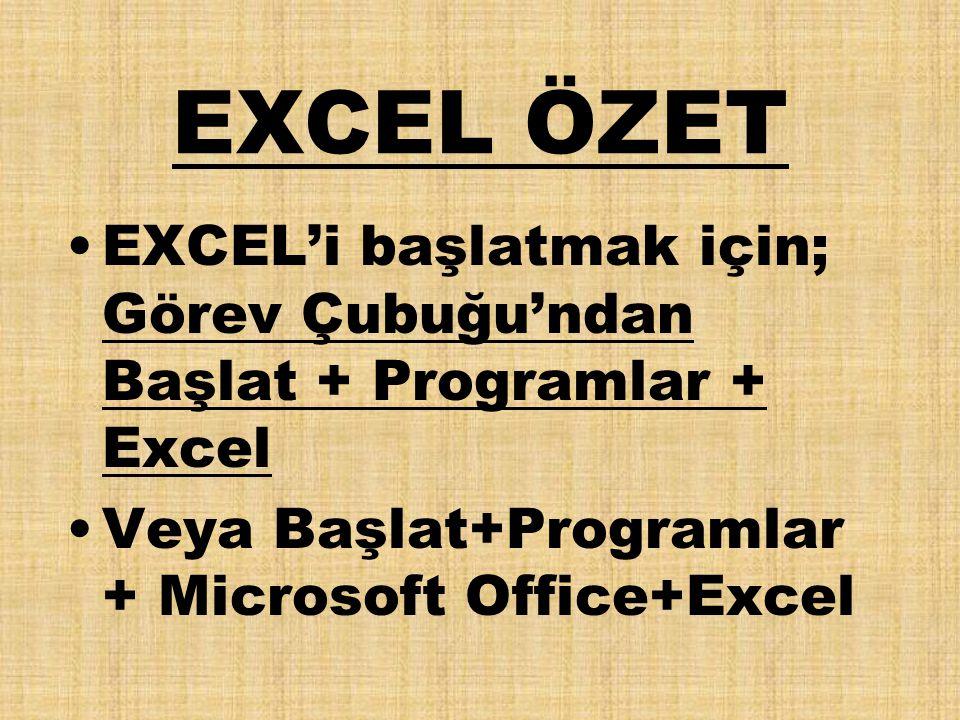 EXCEL ÖZET EXCEL'i başlatmak için; Görev Çubuğu'ndan Başlat + Programlar + Excel Veya Başlat+Programlar + Microsoft Office+Excel