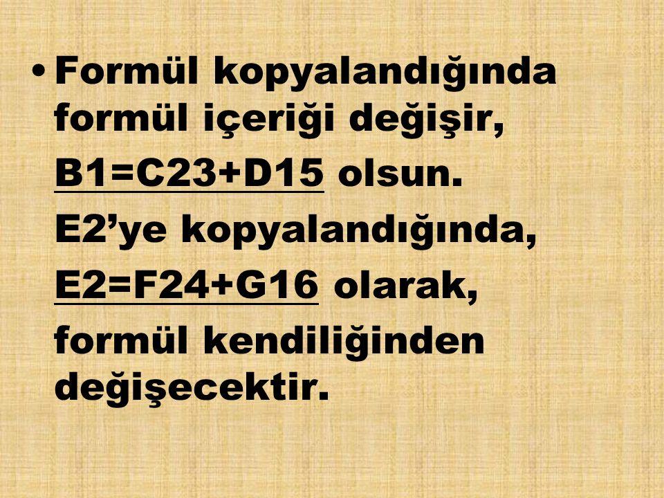 Formül kopyalandığında formül içeriği değişir, B1=C23+D15 olsun. E2'ye kopyalandığında, E2=F24+G16 olarak, formül kendiliğinden değişecektir.