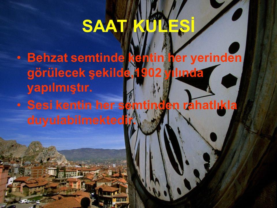 SAAT KULESİ Behzat semtinde kentin her yerinden görülecek şekilde,1902 yılında yapılmıştır. Sesi kentin her semtinden rahatlıkla duyulabilmektedir.