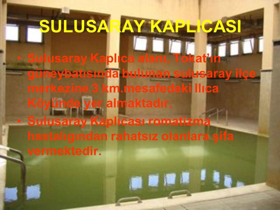 SULUSARAY KAPLICASI Sulusaray Kaplıca alanı, Tokat'ın güneybatısında bulunan sulusaray ilçe merkezine 3 km.mesafedeki Ilıca Köyünde yer almaktadır. Su