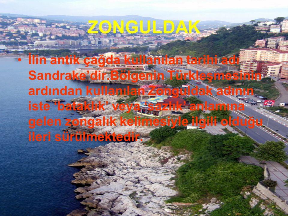 İlin antik çağda kullanılan tarihi adı Sandrake'dir.Bölgenin Türkleşmesinin ardından kullanılan Zonguldak adının iste 'bataklık' veya 'sazlık' anlamın