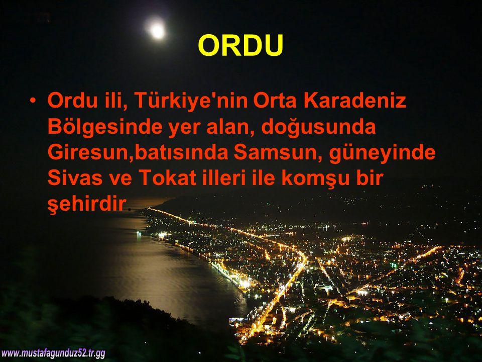 ORDU Ordu ili, Türkiye'nin Orta Karadeniz Bölgesinde yer alan, doğusunda Giresun,batısında Samsun, güneyinde Sivas ve Tokat illeri ile komşu bir şehir