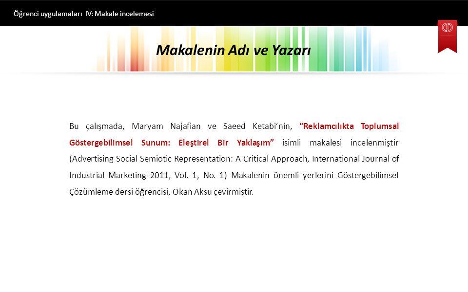 Kaynakça Öğrenci uygulamaları IV: Makale incelemesi Najafian, Maryam and Saeed, Ketabi (2011).