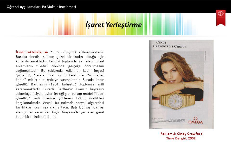 İşaret Yerleştirme Öğrenci uygulamaları IV: Makale incelemesi İkinci reklamda ise Cindy Crawford kullanılmaktadır.
