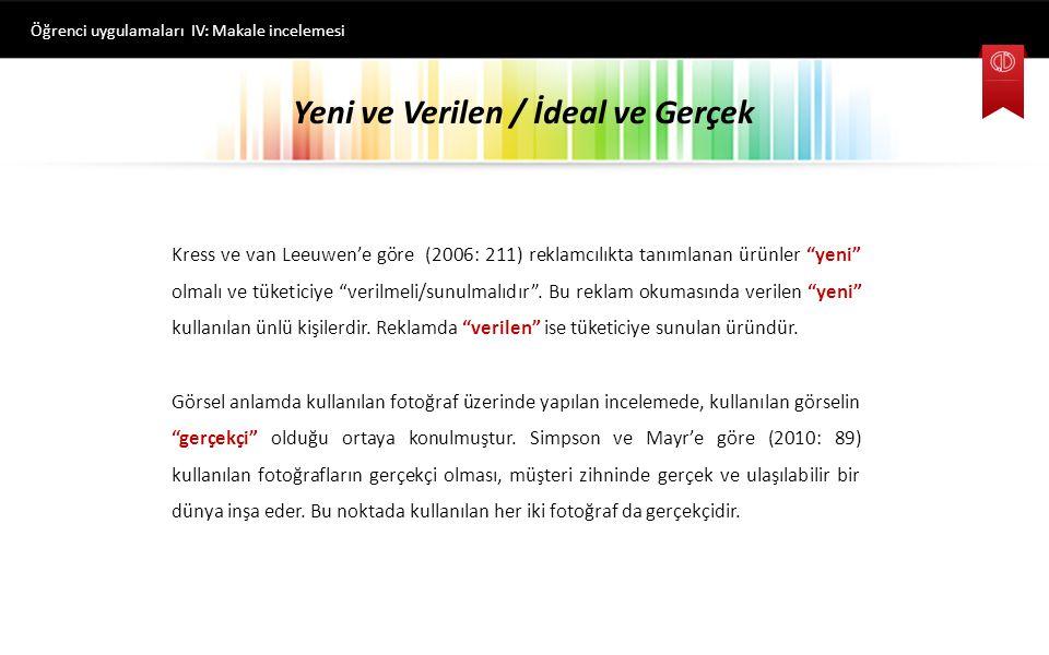 Yeni ve Verilen / İdeal ve Gerçek Öğrenci uygulamaları IV: Makale incelemesi Kress ve van Leeuwen'e göre (2006: 211) reklamcılıkta tanımlanan ürünler yeni olmalı ve tüketiciye verilmeli/sunulmalıdır .