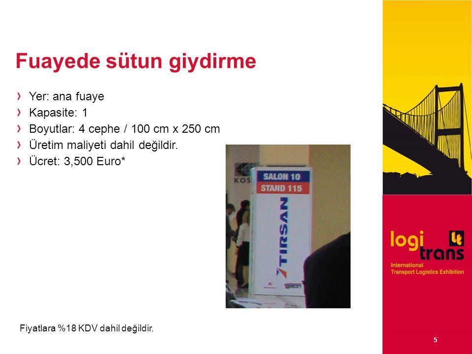 5 Fuayede sütun giydirme Yer: ana fuaye Kapasite: 1 Boyutlar: 4 cephe / 100 cm x 250 cm Üretim maliyeti dahil değildir.