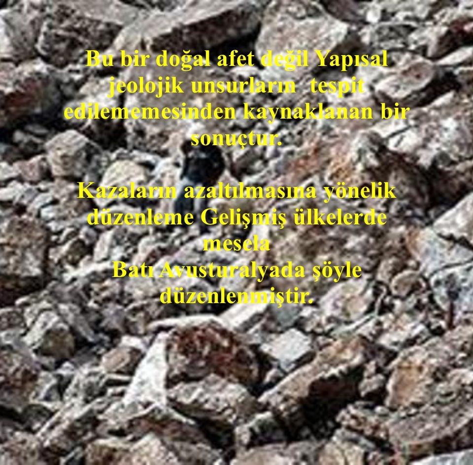 Bu bir doğal afet değil Yapısal jeolojik unsurların tespit edilememesinden kaynaklanan bir sonuçtur. Kazaların azaltılmasına yönelik düzenleme Gelişmi