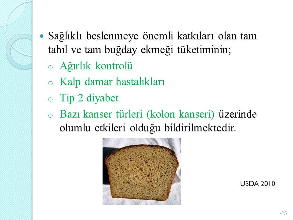Sağlıklı beslenmeye önemli katkıları olan tam tahıl ve tam buğday ekmeği tüketiminin; o Ağırlık kontrolü o Kalp damar hastalıkları o Tip 2 diyabet o B