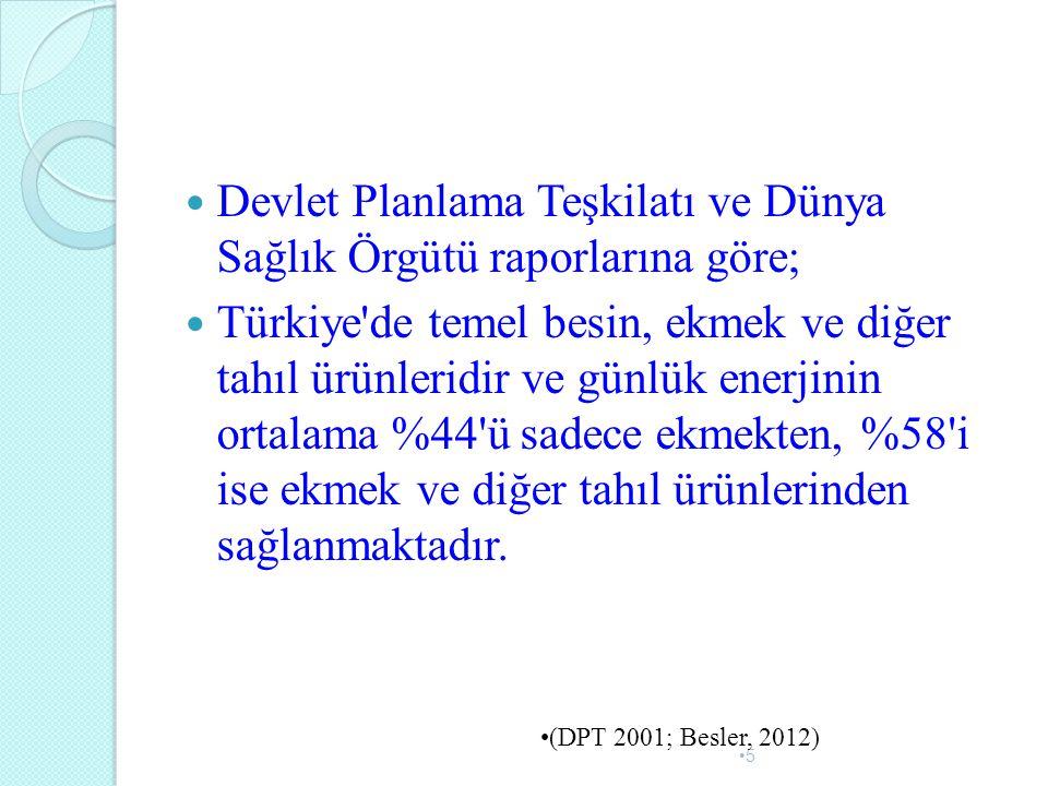 Devlet Planlama Teşkilatı ve Dünya Sağlık Örgütü raporlarına göre; Türkiye'de temel besin, ekmek ve diğer tahıl ürünleridir ve günlük enerjinin ortala