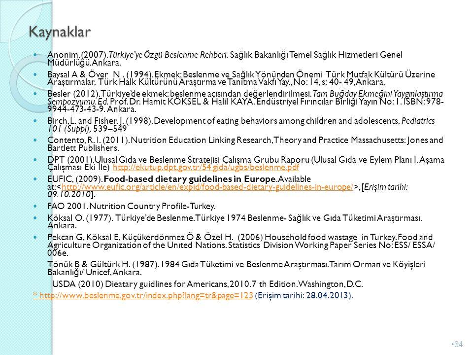 Kaynaklar Anonim, (2007).Türkiye'ye Özgü Beslenme Rehberi. Sa ğ lık Bakanlı ğ ı Temel Sa ğ lık Hizmetleri Genel Müdürlü ğ ü. Ankara. Baysal A & Över N