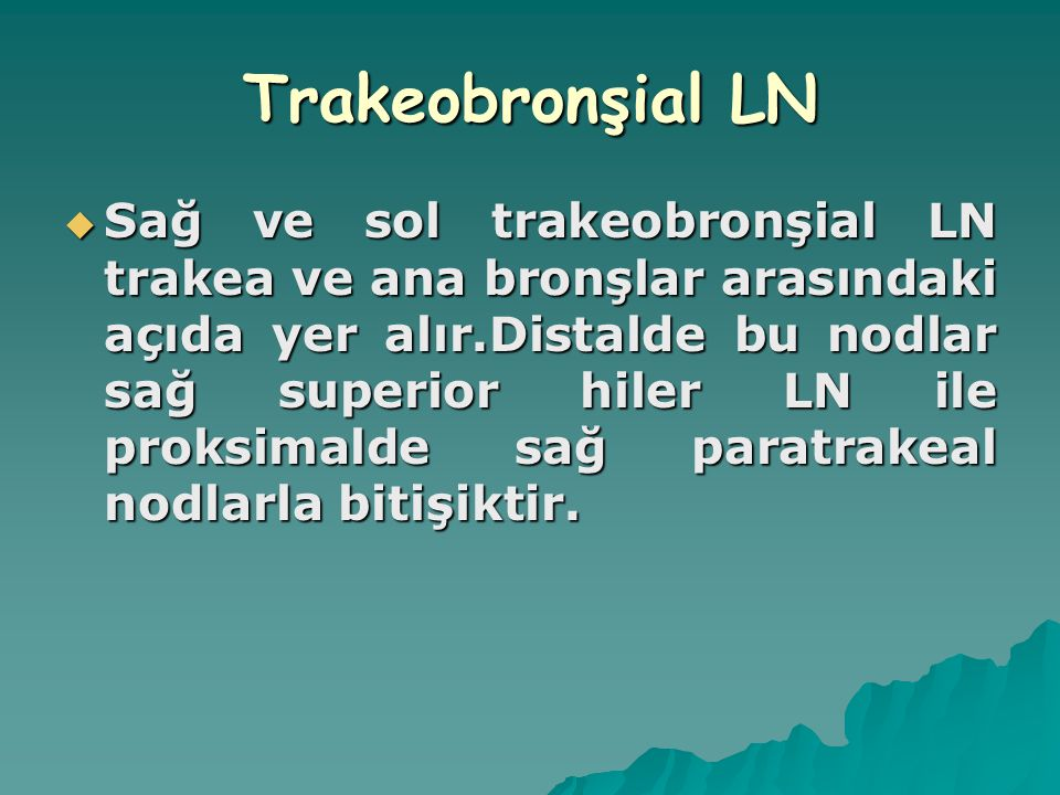 Trakeobronşial LN  Sağ ve sol trakeobronşial LN trakea ve ana bronşlar arasındaki açıda yer alır.Distalde bu nodlar sağ superior hiler LN ile proksim