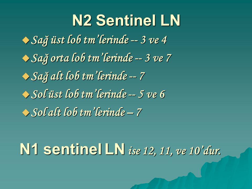 N2 Sentinel LN  Sağ üst lob tm'lerinde -- 3 ve 4  Sağ orta lob tm'lerinde -- 3 ve 7  Sağ alt lob tm'lerinde -- 7  Sol üst lob tm'lerinde -- 5 ve 6