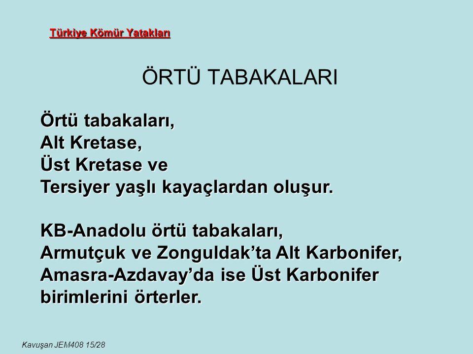 Türkiye Kömür Yatakları ÖRTÜ TABAKALARI Kavuşan JEM408 15/28 Örtü tabakaları, Alt Kretase, Üst Kretase ve Tersiyer yaşlı kayaçlardan oluşur. KB-Anadol
