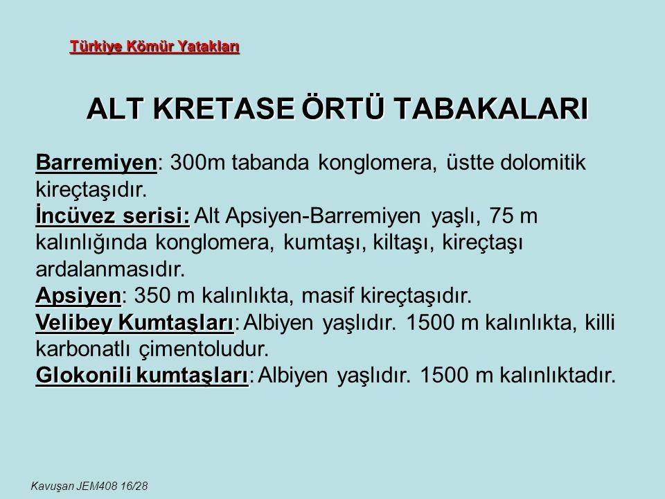 Türkiye Kömür Yatakları ALT KRETASE ÖRTÜ TABAKALARI Kavuşan JEM408 16/28 Barremiyen: 300m tabanda konglomera, üstte dolomitik kireçtaşıdır. İncüvez se