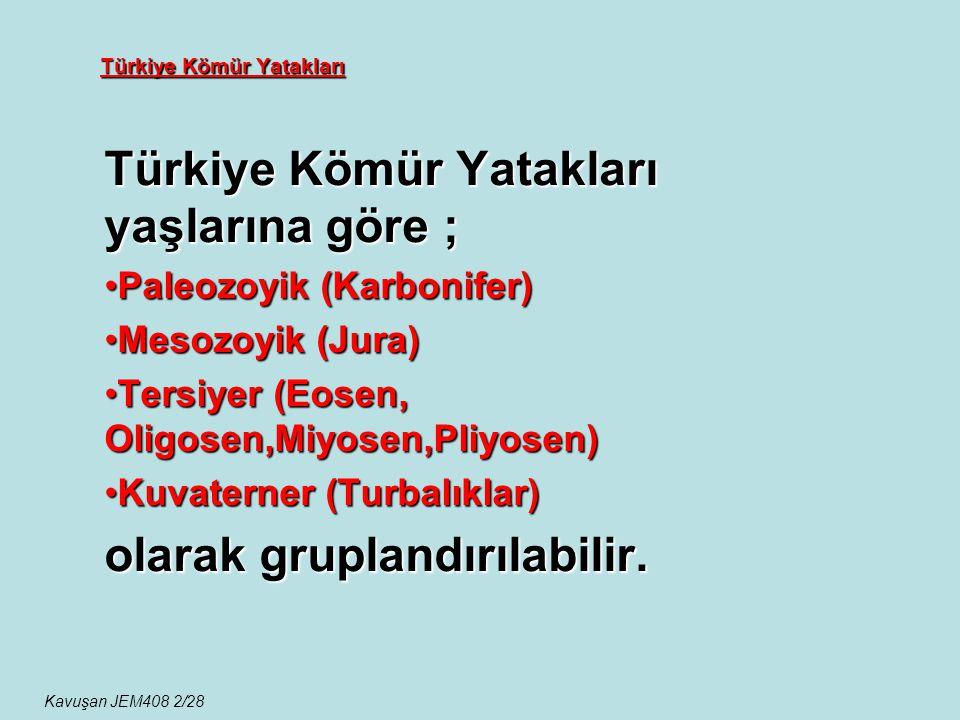 Türkiye Kömür Yatakları Türkiye Kömür Yatakları yaşlarına göre ; Paleozoyik (Karbonifer)Paleozoyik (Karbonifer) Mesozoyik (Jura)Mesozoyik (Jura) Tersi