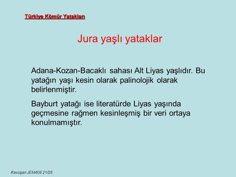 Türkiye Kömür Yatakları Jura yaşlı yataklar Kavuşan JEM408 21/28 Adana-Kozan-Bacaklı sahası Alt Liyas yaşlıdır. Bu yatağın yaşı kesin olarak palinoloj