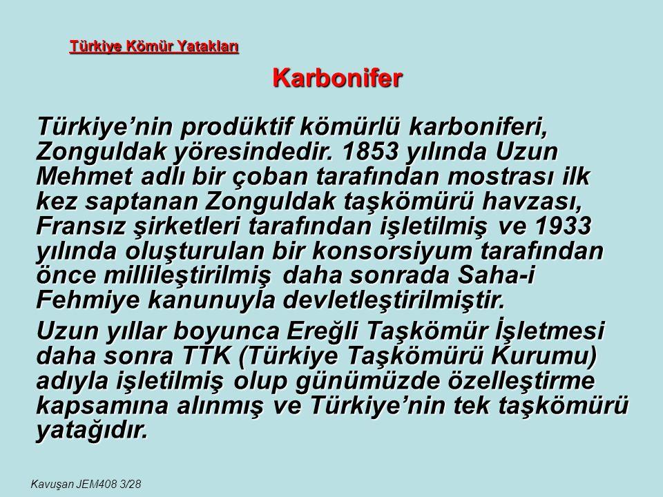 Türkiye Kömür Yatakları Karbonifer Türkiye'nin prodüktif kömürlü karboniferi, Zonguldak yöresindedir. 1853 yılında Uzun Mehmet adlı bir çoban tarafınd