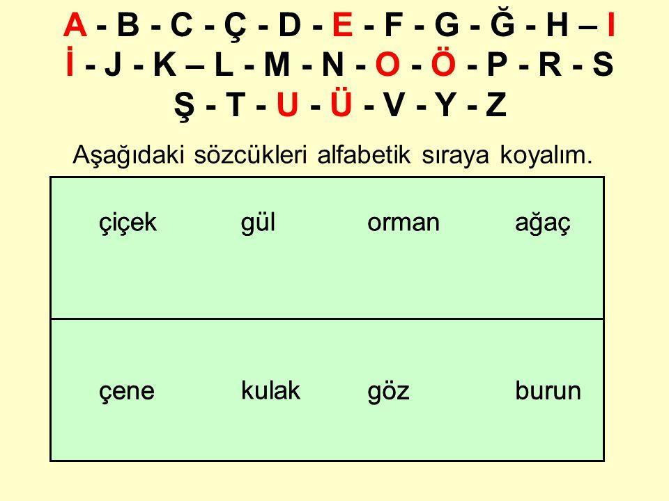 hmetliyşe Aynı harfle başlayan sözcükleri sıraya dizmek için ikinci harflerine bakılır.
