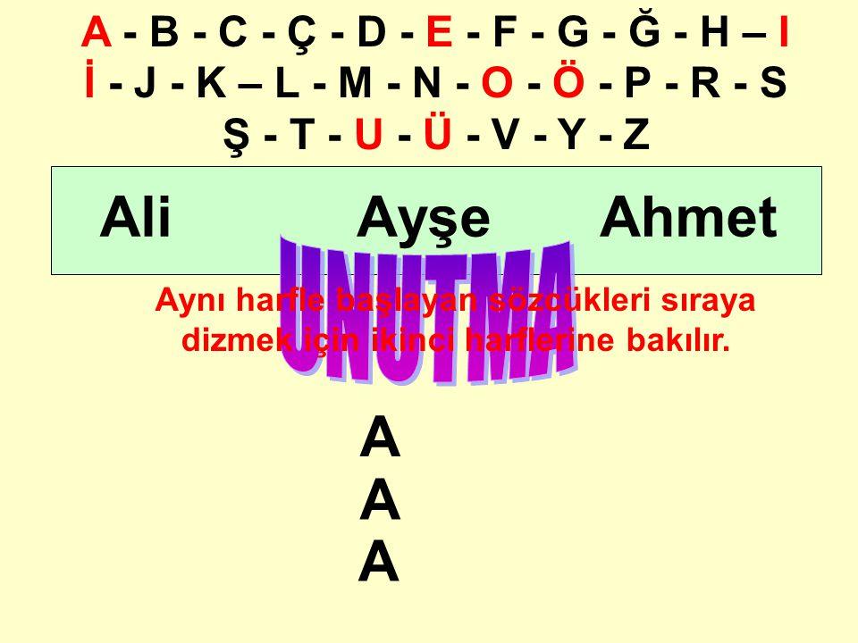 hmetliyşe Aynı harfle başlayan sözcükleri sıraya dizmek için ikinci harflerine bakılır. AAA A - B - C - Ç - D - E - F - G - Ğ - H – I İ - J - K – L -