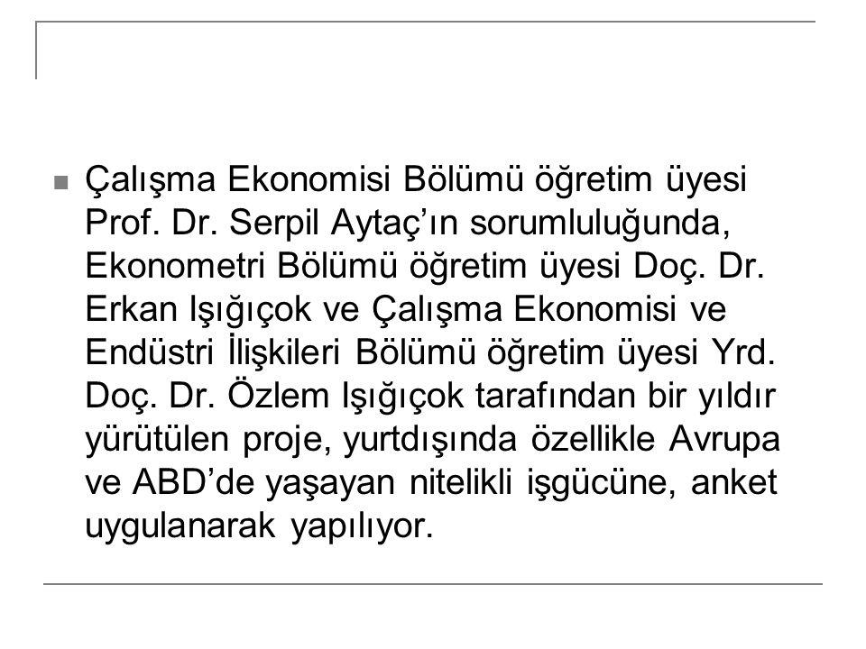 Çalışma Ekonomisi Bölümü öğretim üyesi Prof. Dr. Serpil Aytaç'ın sorumluluğunda, Ekonometri Bölümü öğretim üyesi Doç. Dr. Erkan Işığıçok ve Çalışma Ek
