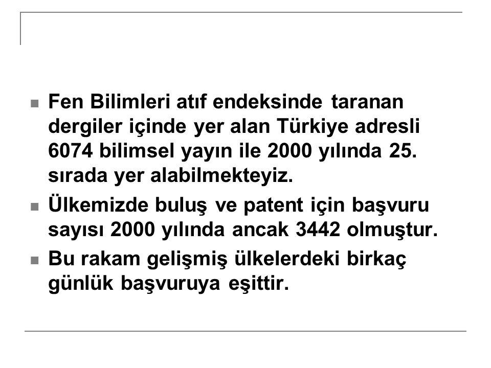 Fen Bilimleri atıf endeksinde taranan dergiler içinde yer alan Türkiye adresli 6074 bilimsel yayın ile 2000 yılında 25. sırada yer alabilmekteyiz. Ülk