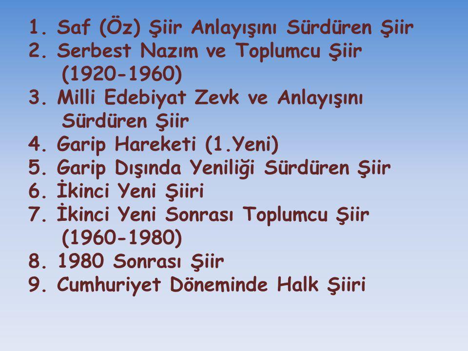 1. Saf (Öz) Şiir Anlayışını Sürdüren Şiir 2. Serbest Nazım ve Toplumcu Şiir (1920-1960) 3. Milli Edebiyat Zevk ve Anlayışını Sürdüren Şiir 4. Garip Ha