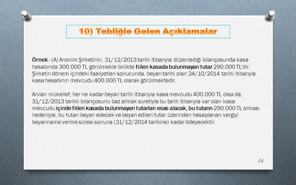 26 Örnek - (A) Anonim Şirketinin, 31/12/2013 tarihi itibarıyla düzenlediği bilançosunda kasa hesabında 300.000 TL görülmekle birlikte fiilen kasada bu
